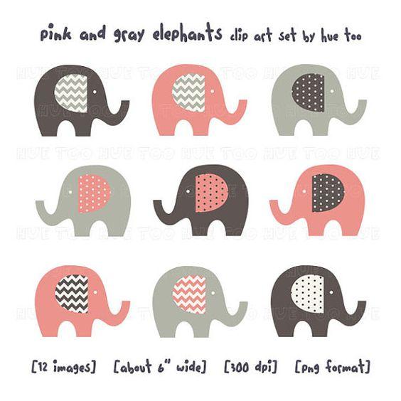 Gray elephant with hearts clipart jpg freeuse pink and gray elephant clip art girls chevron polka dots by huetoo ... jpg freeuse