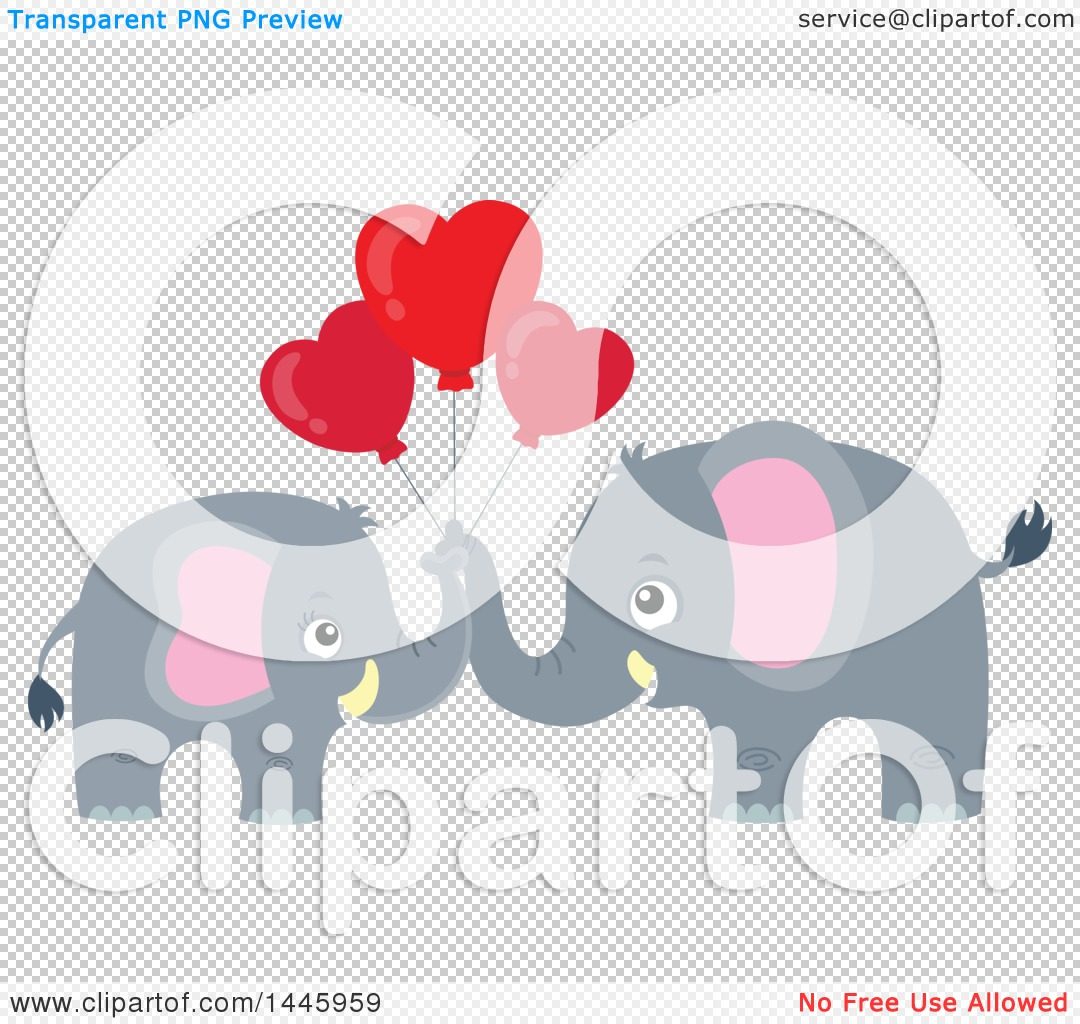 Gray elephant with hearts clipart svg royalty free Clipart of a Cute Gray Elephant Couple Holding Heart Shaped ... svg royalty free