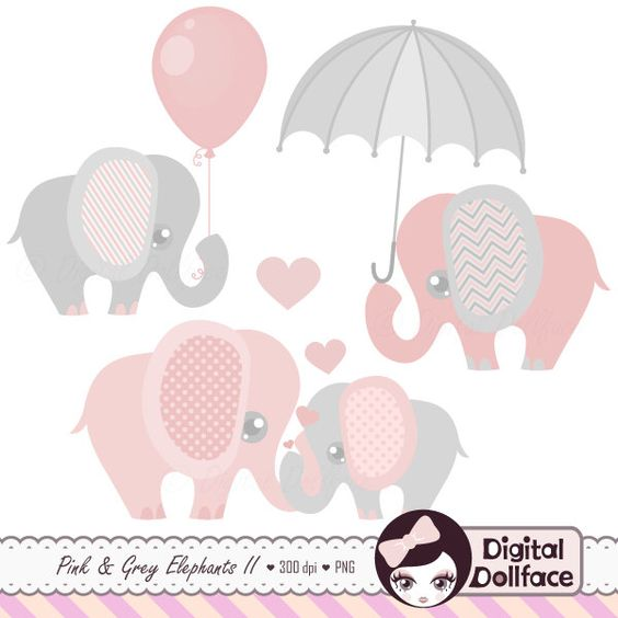 Gray elephant with hearts clipart png transparent stock Pink and Grey Elephant Clip Art, Elephant Baby Shower Graphics ... png transparent stock