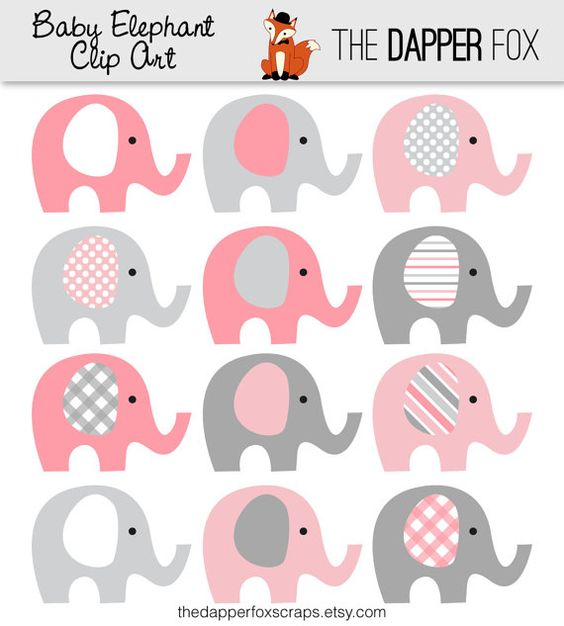 Gray elephant with hearts clipart png free library Pink and Grey Elephant Clip Art - INSTANT DOWNLOAD - Baby girl ... png free library