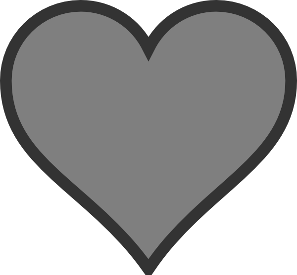Gray heart clipart clip art black and white stock Gray Heart Clip Art at Clker.com - vector clip art online, royalty ... clip art black and white stock