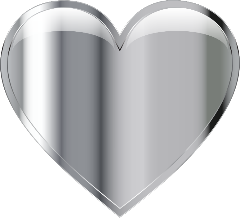 Gray heart clipart clipart royalty free library Clipart - Chrome Heart clipart royalty free library