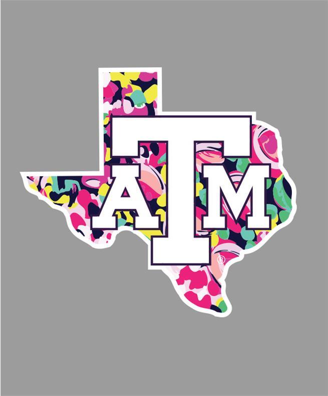 Gray texas a&m aggies clipart jpg black and white stock Texas A&M Aggie Floral Lone Star Decal jpg black and white stock