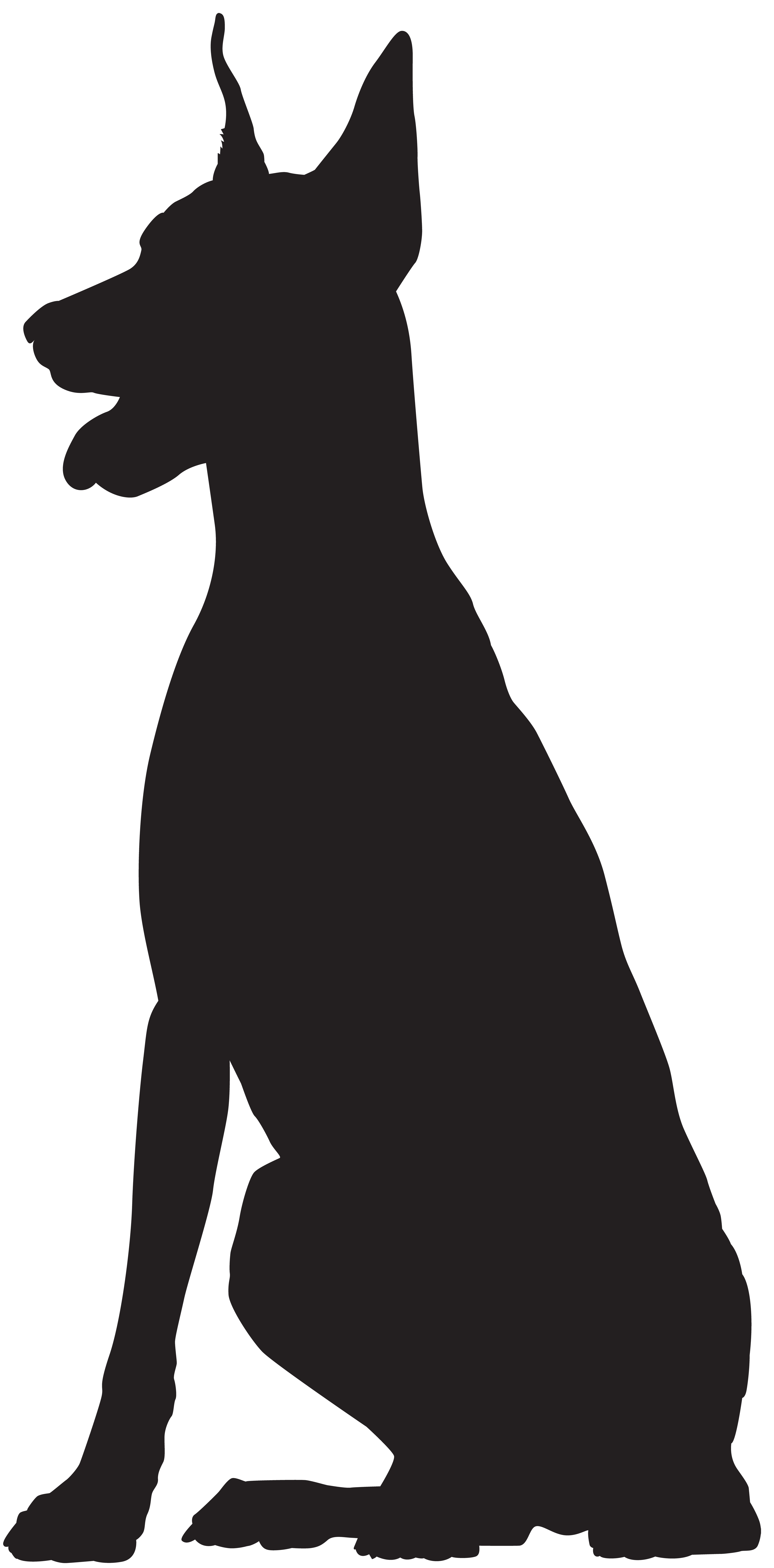 Great dane dog clipart clip Doberman Silhouette PNG Clip Art Image | Gallery Yopriceville ... clip
