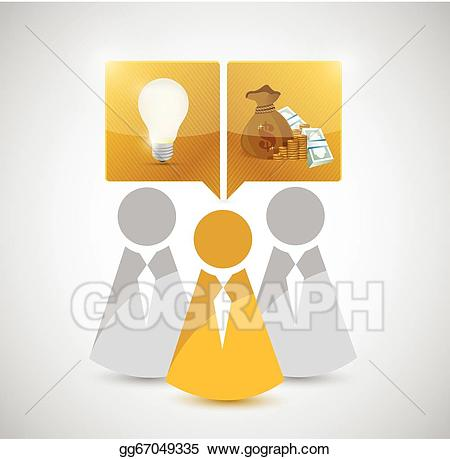 Great teamwork clipart image black and white stock Vector Clipart - Great teamwork ideas make money. concept. Vector ... image black and white stock