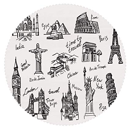 Great wall of china black and white clipart clip art free download Amazon.com: iPrint Round Tablecloth [ Doodle,Important Landmarks of ... clip art free download