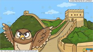 Great wall of china clipart at night vector royalty free library An angry night owl and The Great Wall Of China Background vector royalty free library