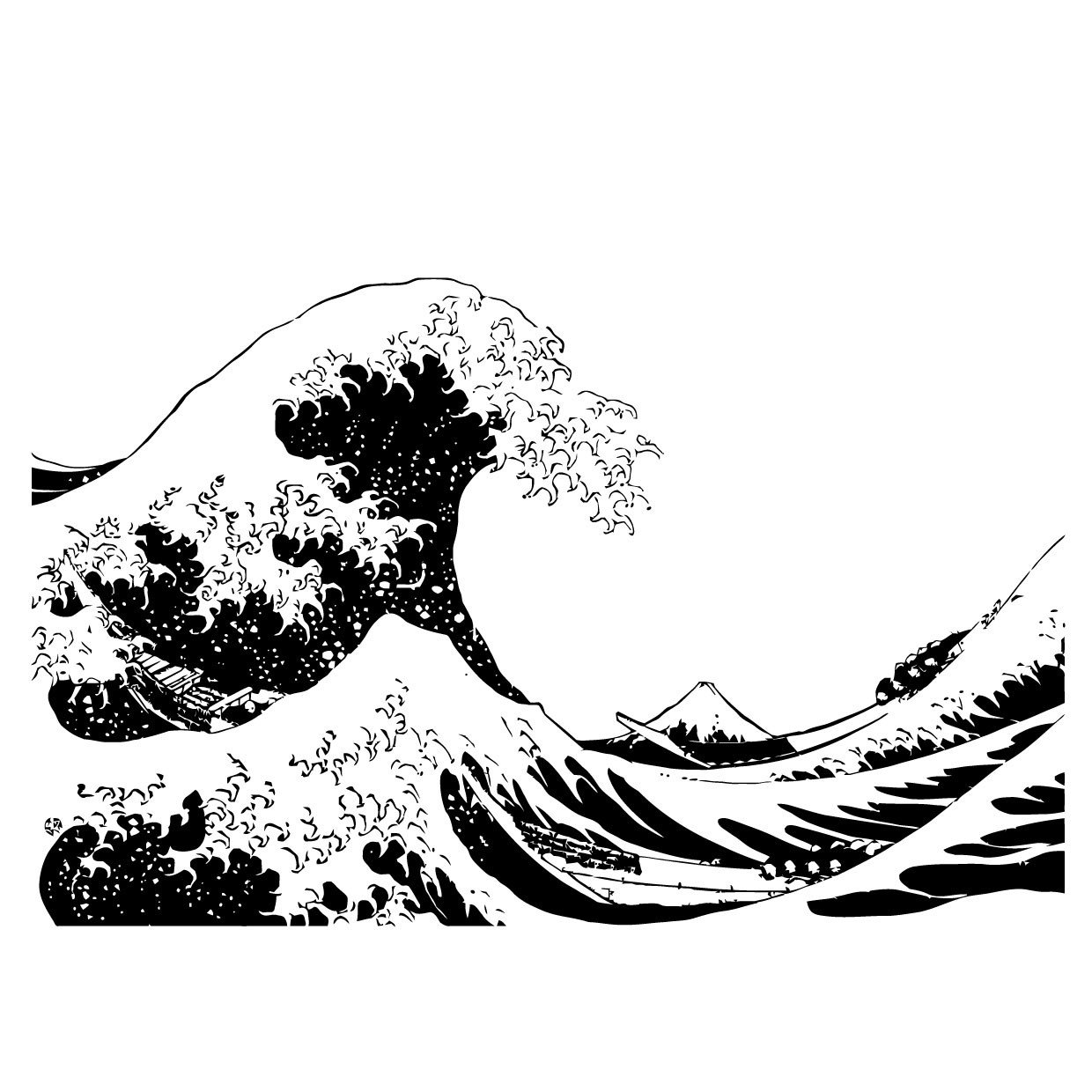 Great wave clipart clip Japanese The Great Wave Off Kanagawa by Hokusai Wall Decal #363 ... clip