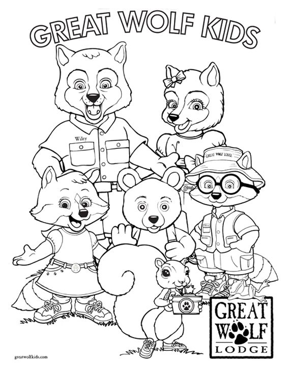 Great wolf lodge clipart black and white png transparent stock GWL Coloring page...boys want to go back already! | GWL in 2019 ... png transparent stock