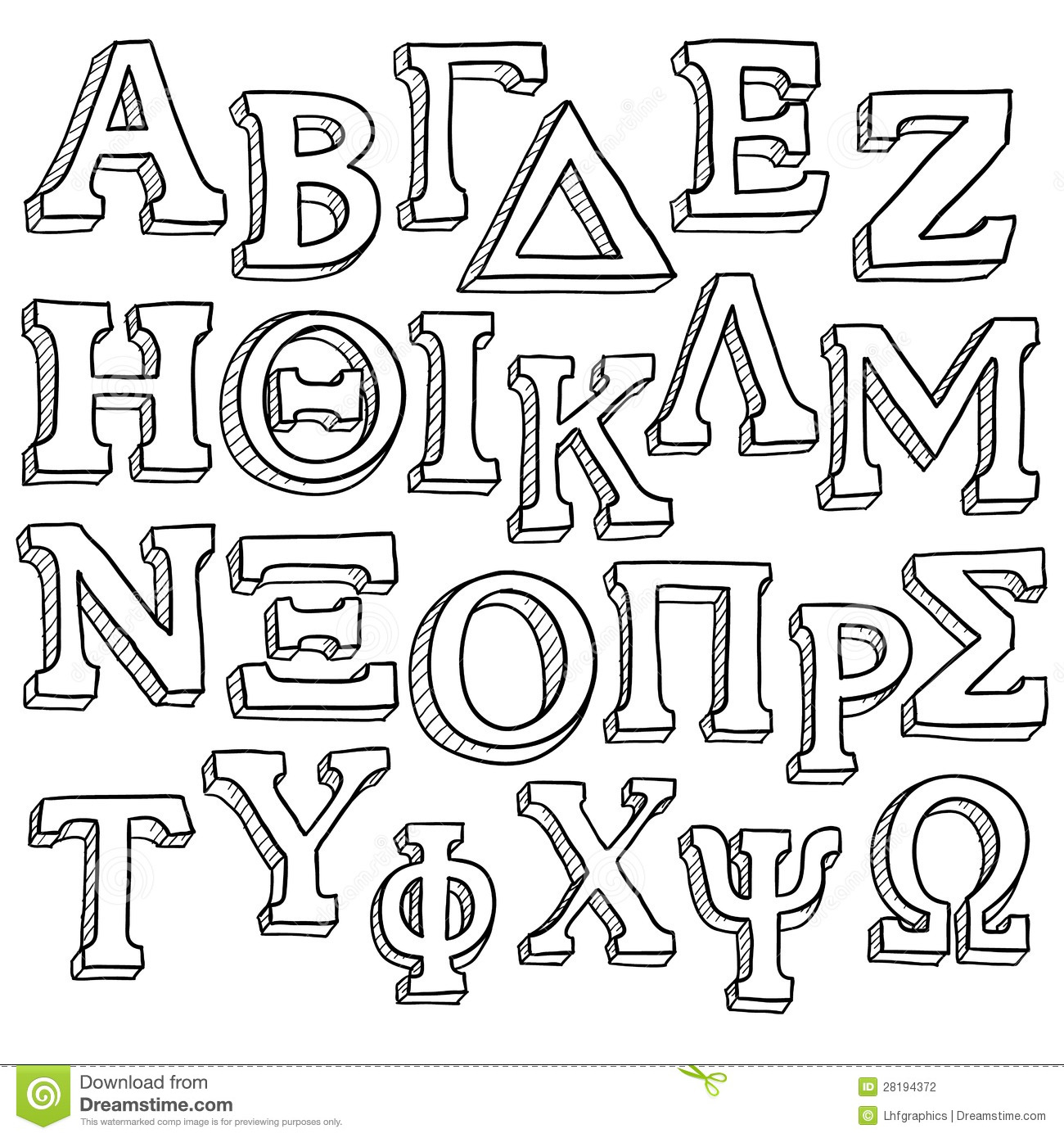 Greek alphabet clipart image library Greek Alphabet Sketch Stock Photography - Image: 28194372 image library