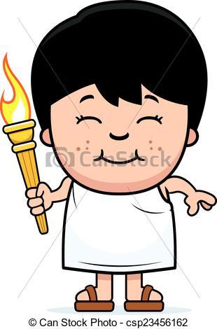 Greek boy clipart banner stock Clip Art Vector of Cartoon Boy Olympic Torch - A cartoon ... banner stock
