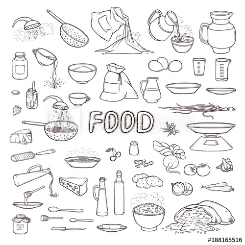 Greek food clipart black and white sketch clip art transparent Vector black and white sketch collection set food products ... clip art transparent