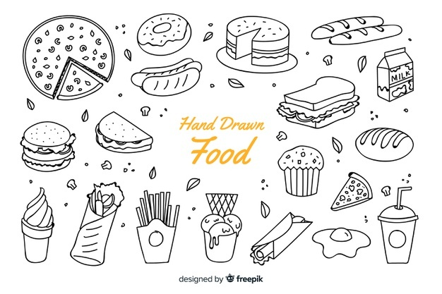 Greek food clipart black and white sketch jpg freeuse Hand Drawn Food Vectors, Photos and PSD files   Free Download jpg freeuse