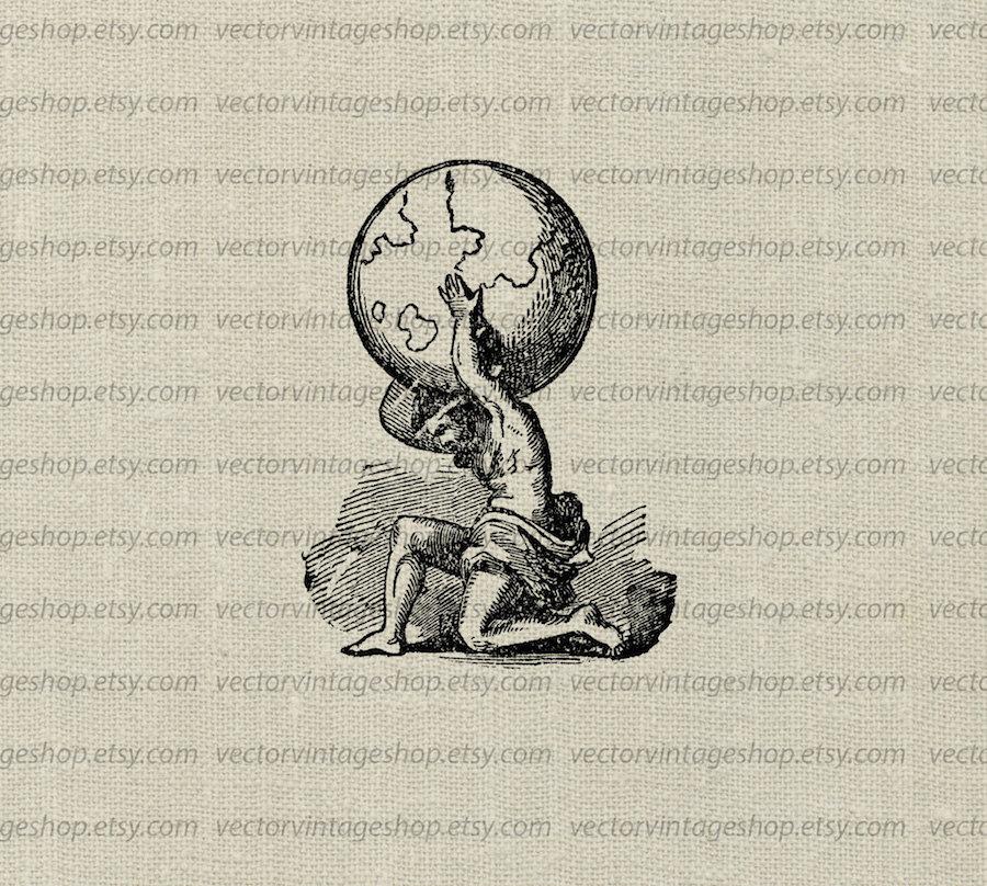 Greek god atlas clipart jpg royalty free Atlas Myth Vector Clip Art Graphic Instant Download Ancient jpg royalty free