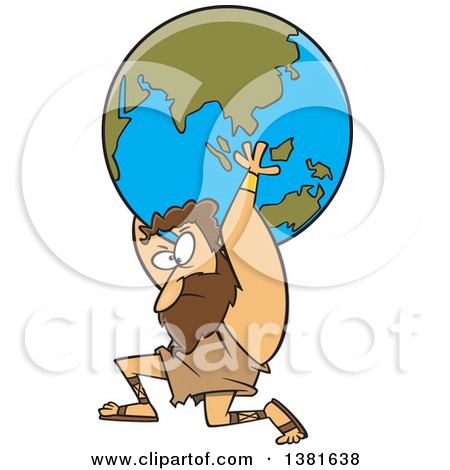 Greek god atlas clipart clip freeuse library Clipart of a Cartoon Black and White Greek God, Atlas, Carrying ... clip freeuse library