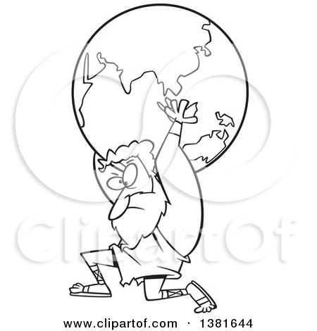 Greek god atlas clipart png library download Clipart of a Cartoon Black and White Greek God, Atlas, Carrying ... png library download