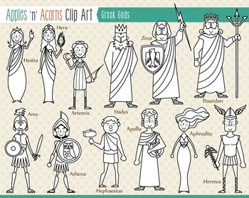 Greek gods clipart clip black and white stock Greek Gods Clip Art - color and outlines by Apples \'n\' Acorns | TpT clip black and white stock