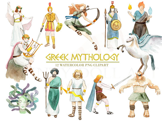 Greek gods clipart clip stock Greek Mythology Clipart Watercolor Digital Download Greece Vector ... clip stock