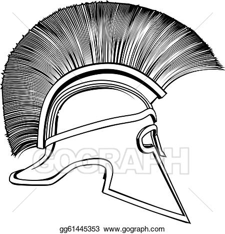 Greek helmet clipart image free download Vector Stock - Black and white ancient greek warrior helmet. Clipart ... image free download