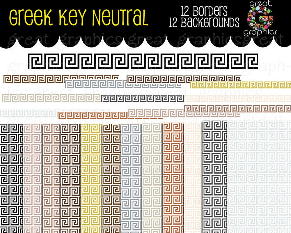 Greek key border clipart image library Greek Key Digital Clip Art Greek Key Border Digital Paper ... image library