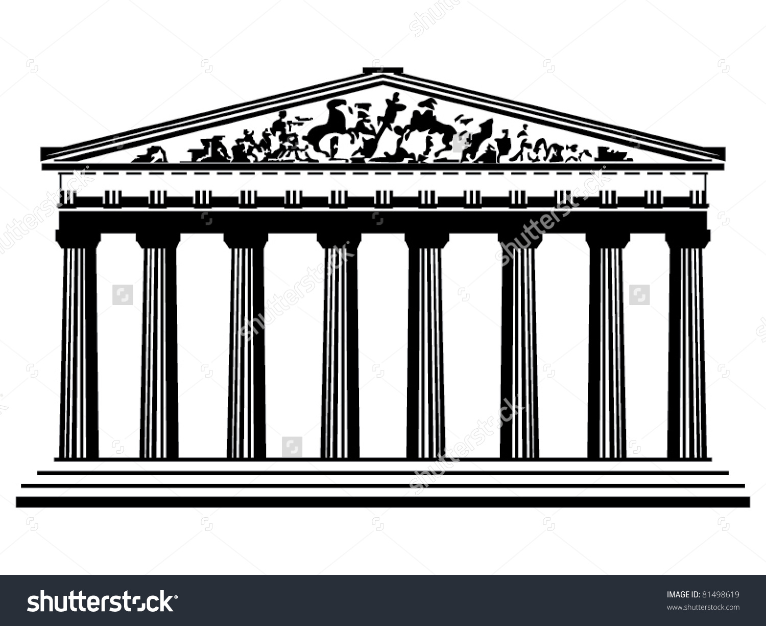 Greek shrine clipart clip art transparent library Greek Temple Vector Stock Vector 81498619 - Shutterstock clip art transparent library