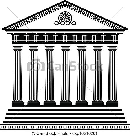 Greek temple clipart free black and white download Vector Clipart of Greek temple stencil second variant csp16216201 ... black and white download
