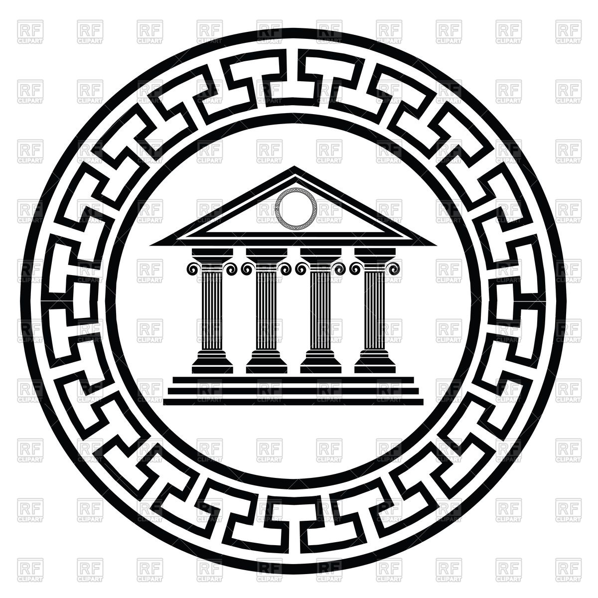 Greek temples clipart picture black and white Ancient greek temple in round frame Vector Image #47796 – RFclipart picture black and white