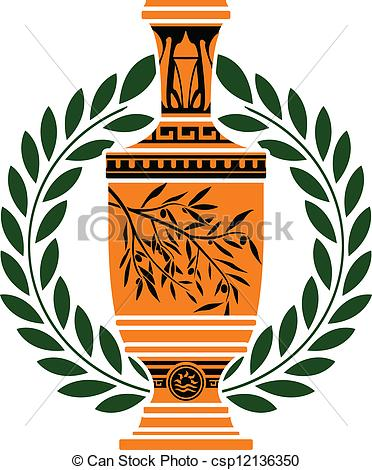 Greek vases clipart image free download Clipart Vector of greek vase with laurel wreath csp12136350 ... image free download