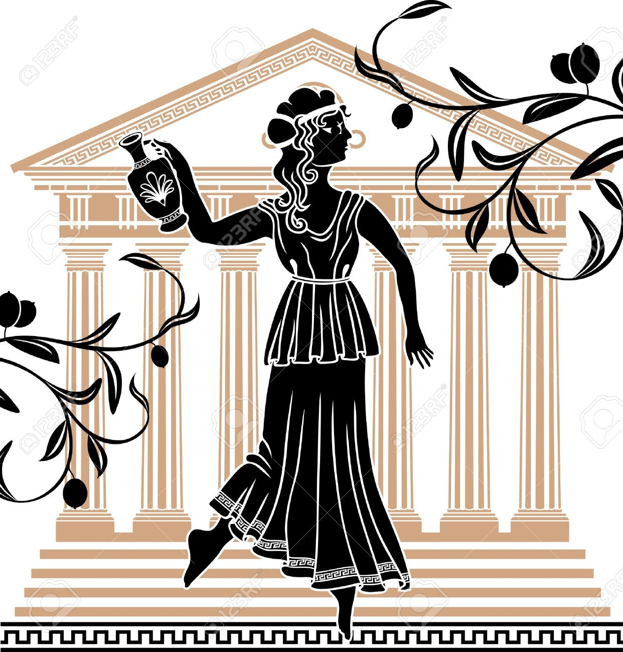 Greek woman clipart black and white library 944 Greek Woman Cliparts, Stock Vector And Royalty Free Greek ... black and white library