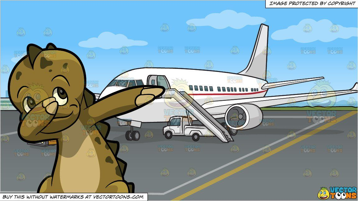 Green airport clipart image black and white library clipart #cartoon A Dabbing Dinosaur and An Airport Tarmac Background ... image black and white library