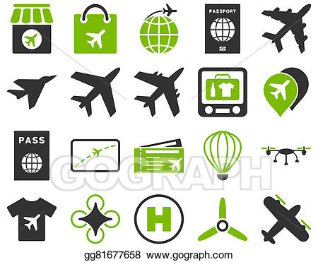 Green airport clipart jpg black and white library Stock Illustration - Airport icon set. Clipart Illustrations ... jpg black and white library