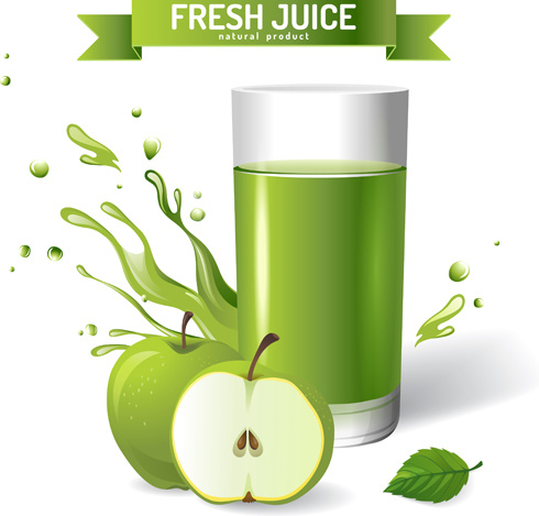 Green apple juice clipart graphic library Fresh apple juice creative design vector Free vector in Adobe ... graphic library
