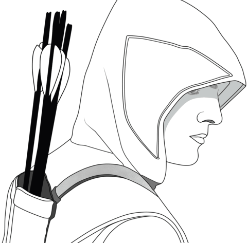 Green arrow logo black and white clipart png black and white Oliver Queen from Green Arrow coloring page | Free Printable ... png black and white