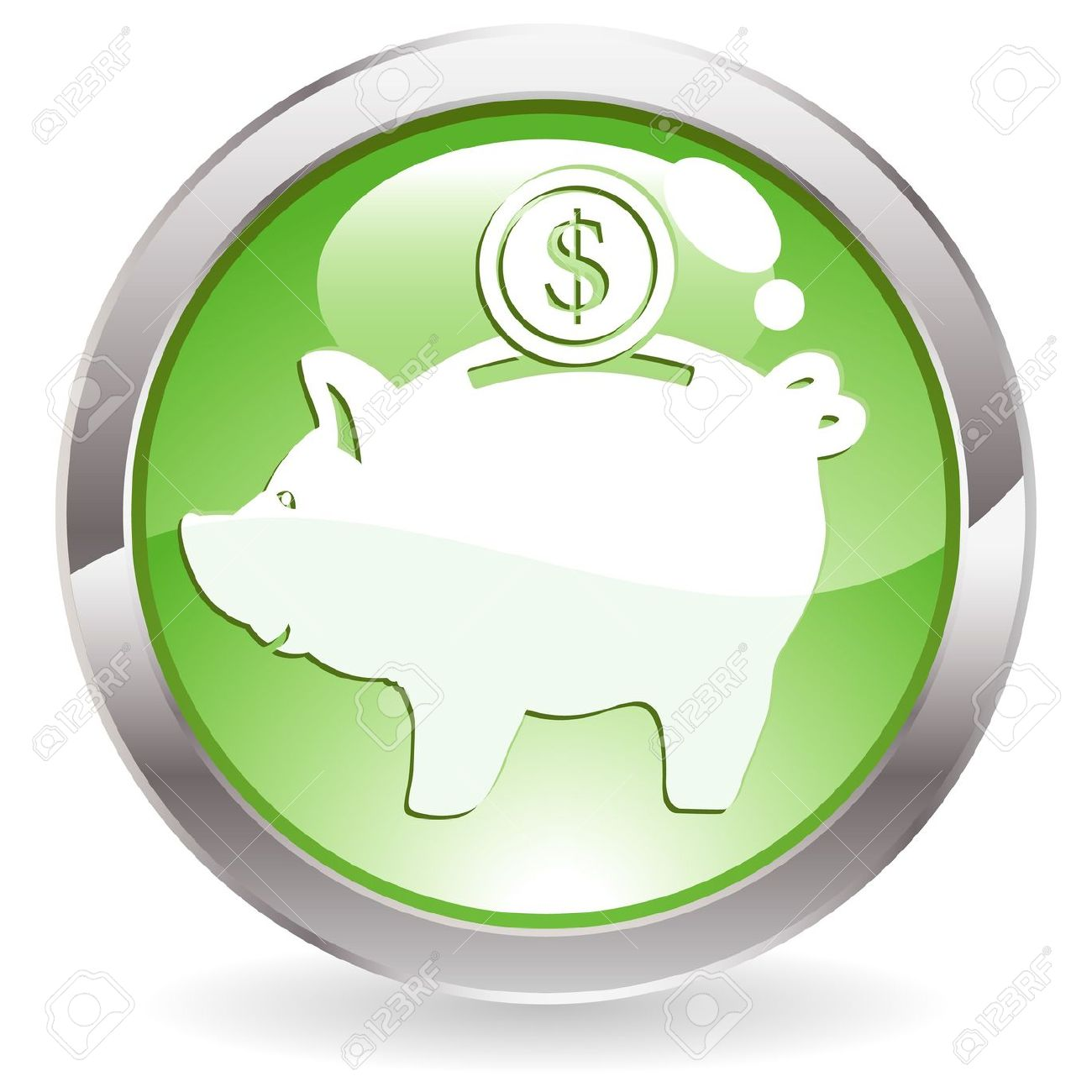 Green bank clipart svg royalty free stock Three Dimensional Circle Button With Piggy Bank Icon, Illustration ... svg royalty free stock
