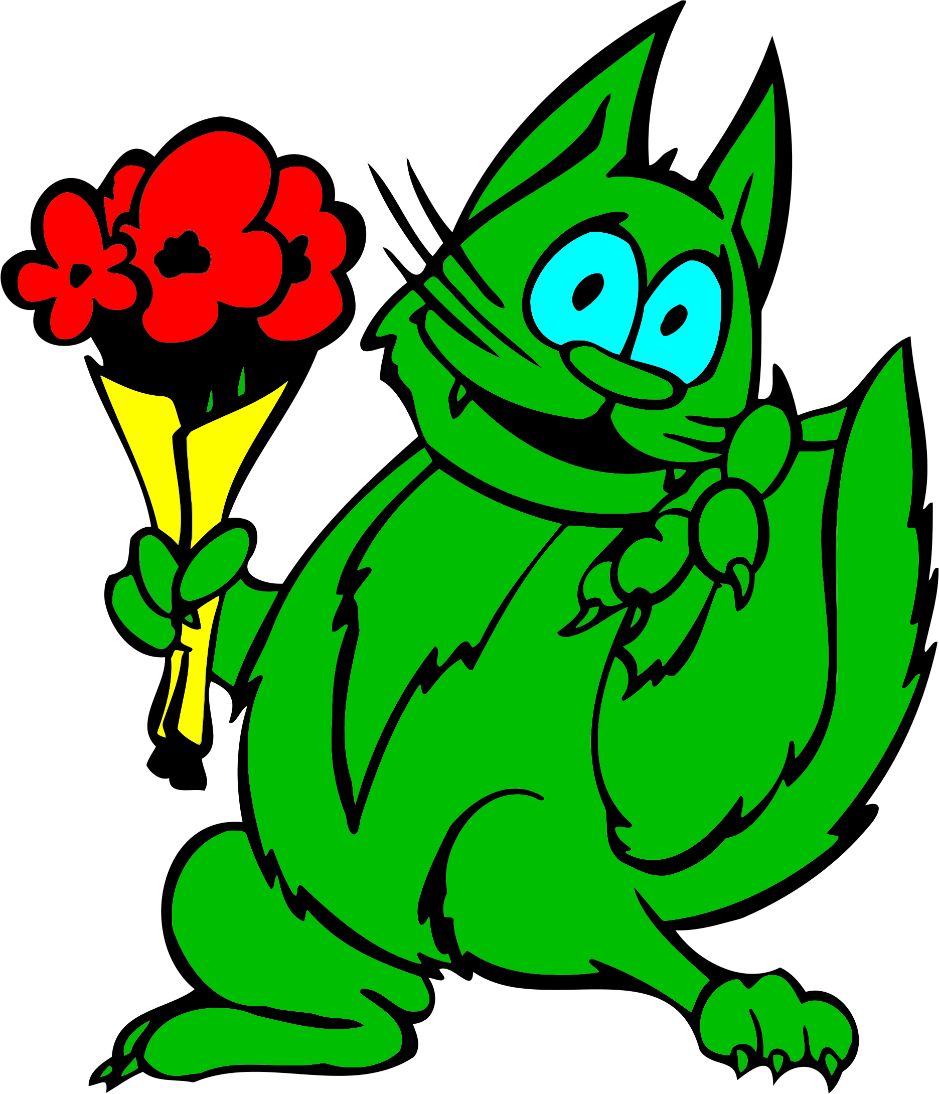 Green cat clipart png library library Clipart - Green Cat With Flowers png library library