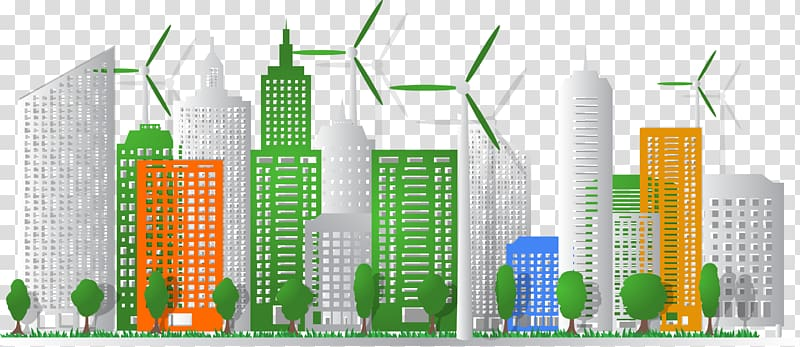 Green city clipart image transparent library White, green, and orange high-rise buildings , Eco-cities Ecology ... image transparent library
