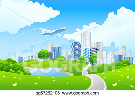 Green city clipart banner free stock Drawing - Green city landscape. Clipart Drawing gg57252105 - GoGraph banner free stock