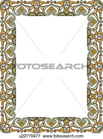Green fancy hearts clipart jpg freeuse stock Clip Art of Green and gold fancy heart arabesque Border u22770477 ... jpg freeuse stock