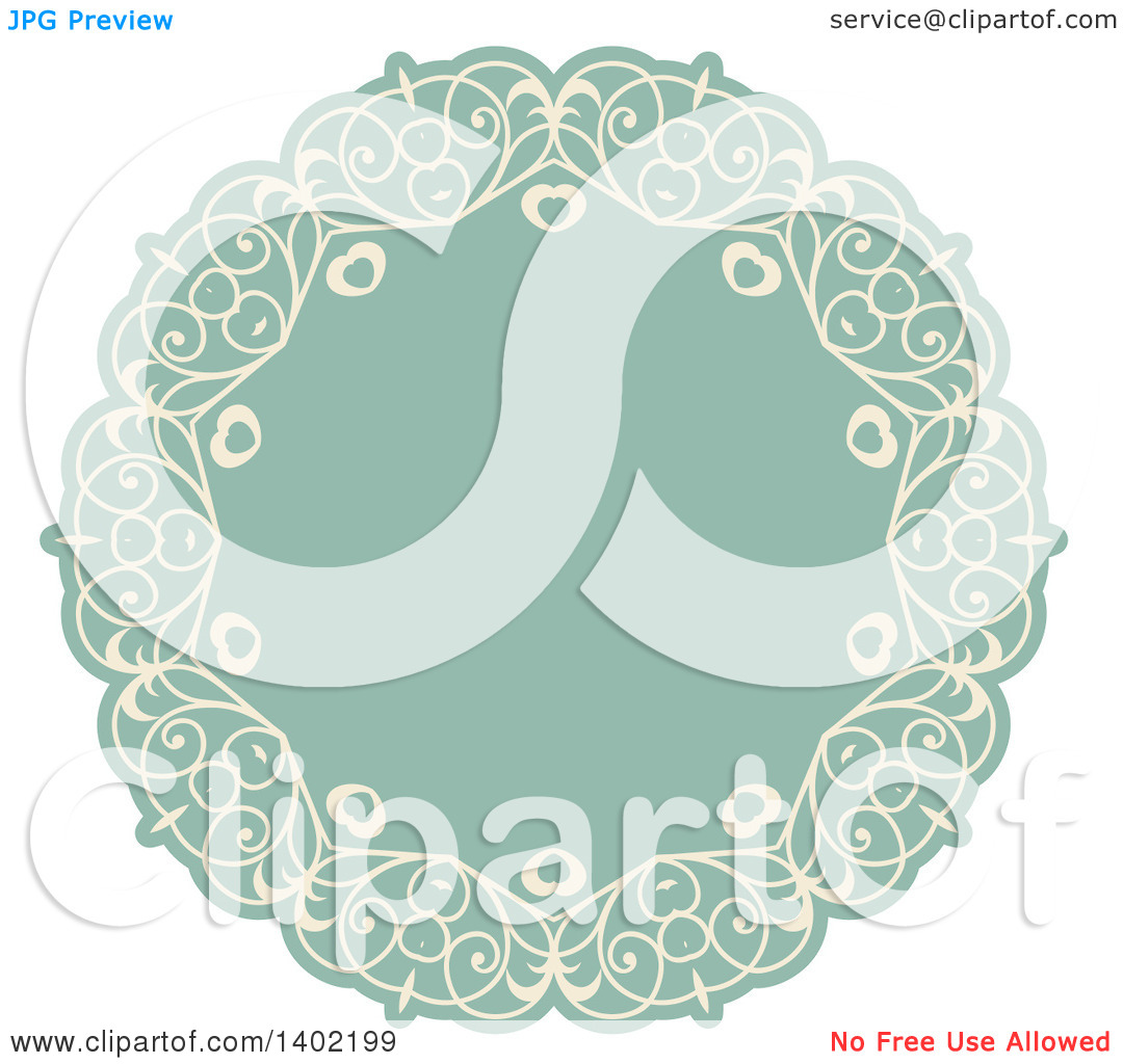 Green fancy hearts clipart clipart black and white Clipart of a Beige and Turquoise Fancy Round Label Design Element ... clipart black and white