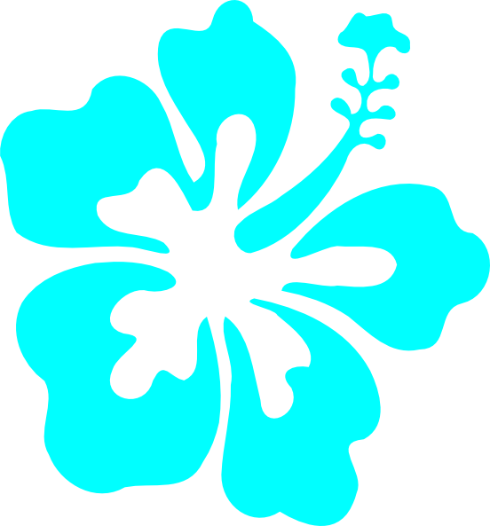 Teal and pink flower clipart clip art black and white library Turquoise Hawaiian Hibiscus Clipart clip art black and white library