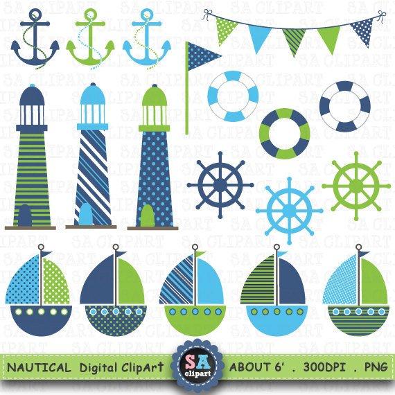 Green light house clipart clip art transparent stock Nautical Digital Clip Art \