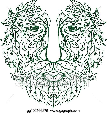 Green man images clipart vector freeuse download Vector Clipart - Green man head front mandala. Vector Illustration ... vector freeuse download