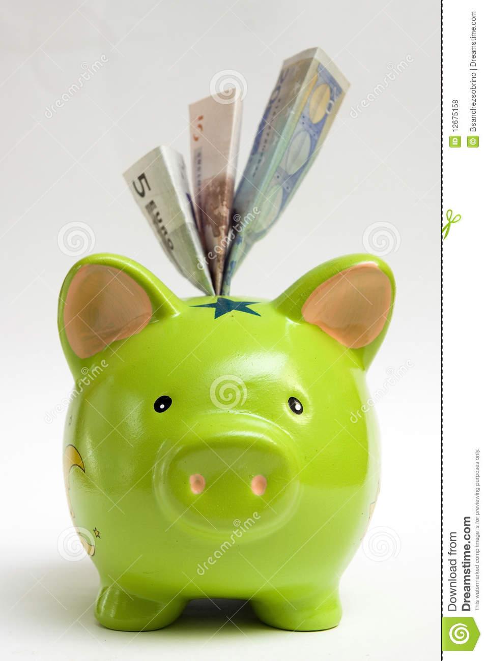 Green piggy bank clipart svg Green Piggy Bank And Money Royalty Free Stock Photos - Image: 12675158 svg