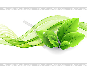 Green wave clipart graphic free stock Eco leaves and green wave - vector clipart graphic free stock