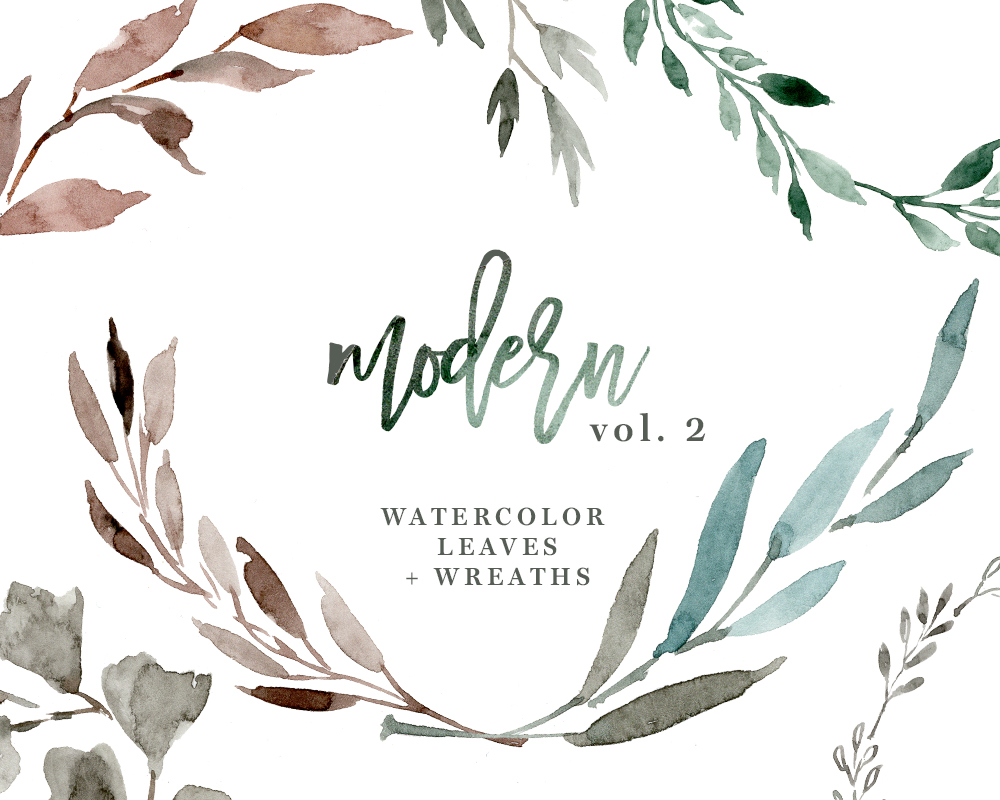 Watercolour leaves clipart vector royalty free Watercolour Leaves Wreaths Clipart, Greenery Wedding Clipart, Eucalyptus  Branch PNG Files vector royalty free