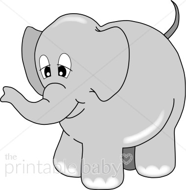 Grey elephant clipart clip art black and white download Happy Gray Elephant Clipart | Animal Baby Clipart clip art black and white download