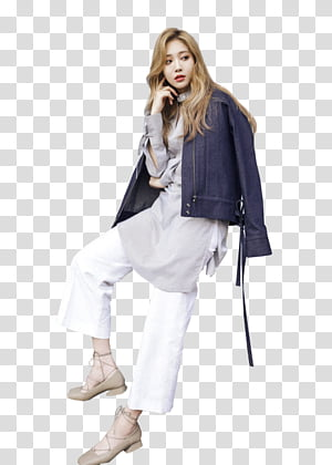 Grey outfit clipart picture free stock Yoona, woman wearing white jacket and green pants outfit transparent ... picture free stock