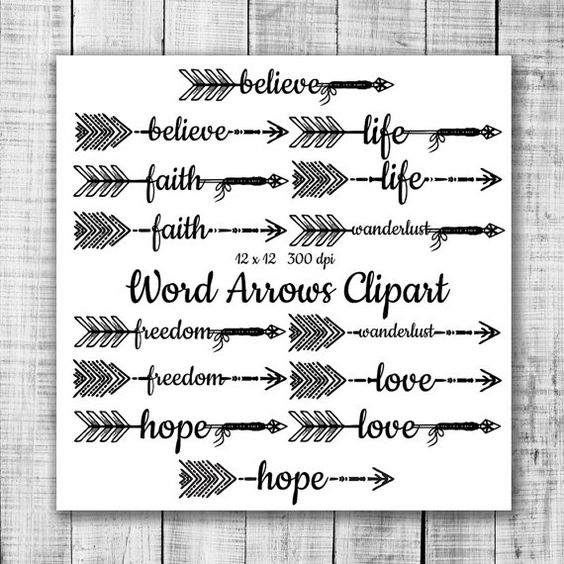 Grey tribal arrow clipart graphic download Hand Drawn Word Arrows Tribal Aztec Digital Clip Art - tribal word ... graphic download