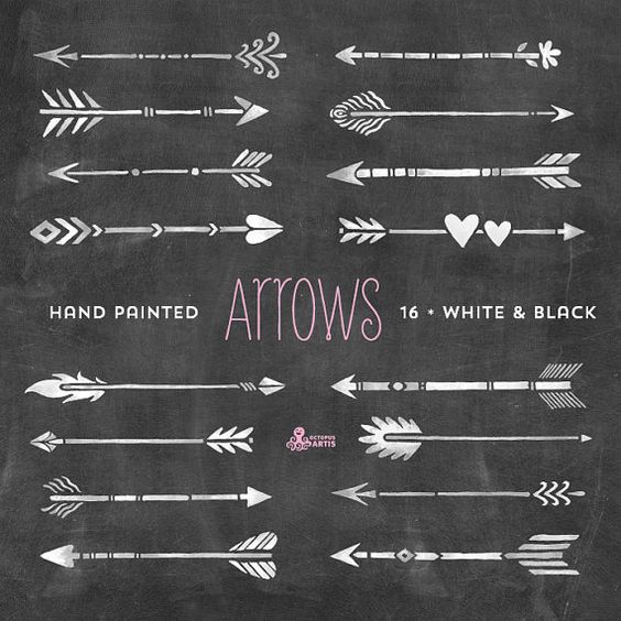 Grey tribal arrow clipart banner royalty free stock White & Black Arrows Clipart. Tribal, native diy elements ... banner royalty free stock