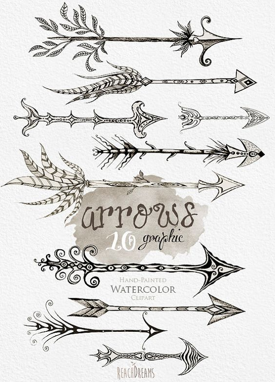 Grey tribal arrow clipart graphic library Arrows clipart. Hand Drawn Clip Art Tribal Arrows Instant Download ... graphic library
